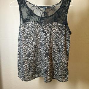 Forever 21 women's blouse leopard pattern